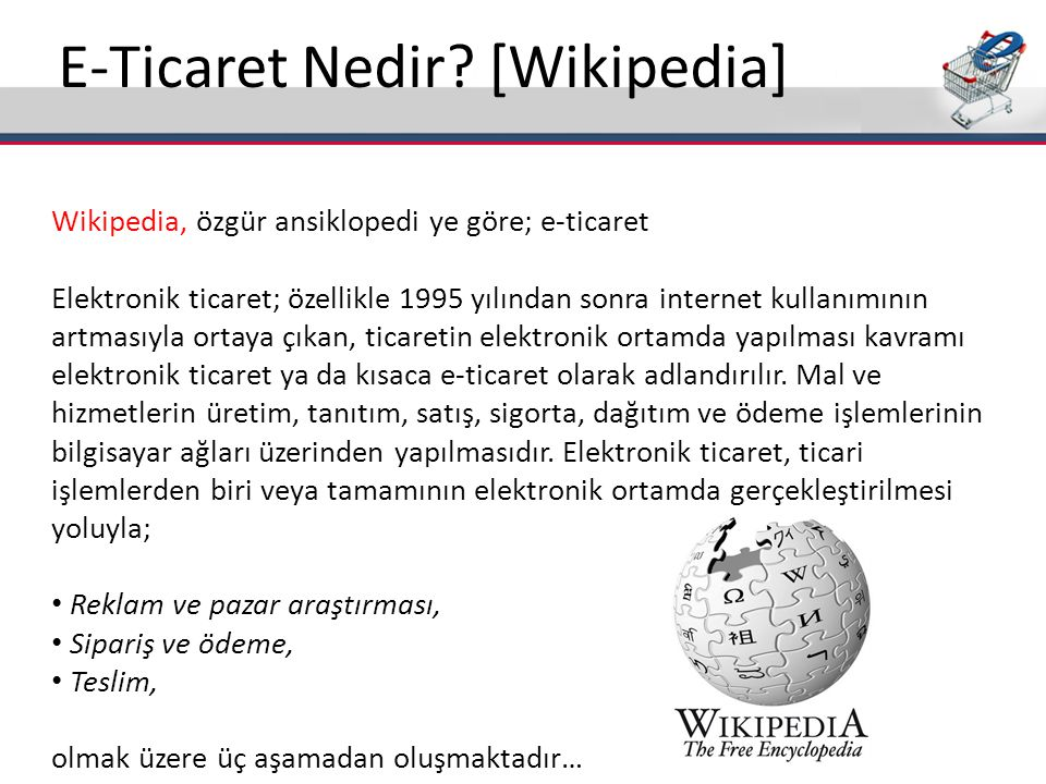 E-Ticaret Nedir [Wikipedia]